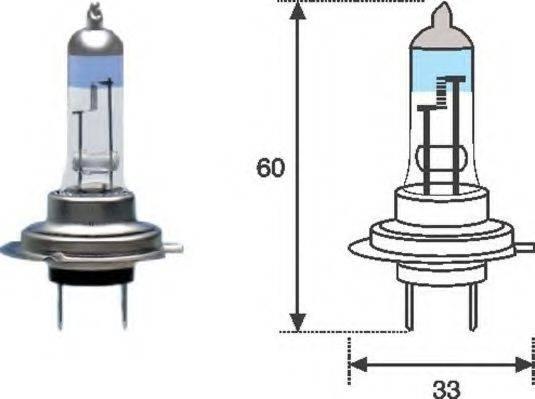 Лампа накаливания, фара дальнего света; Лампа накаливания, основная фара; Лампа накаливания, противотуманная фара; Лампа накаливания MAGNETI MARELLI 002586100000