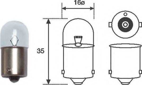 Лампа накаливания, задний гарабитный огонь; Лампа накаливания, oсвещение салона; Лампа накаливания MAGNETI MARELLI 004008100000